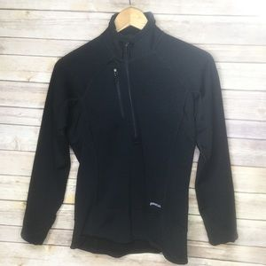 Patagonia black zip neck light weight pull over S